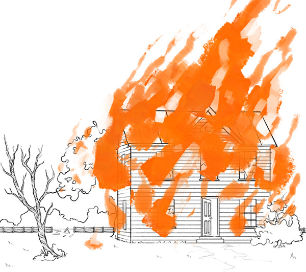 Illustration of cabin on fire
