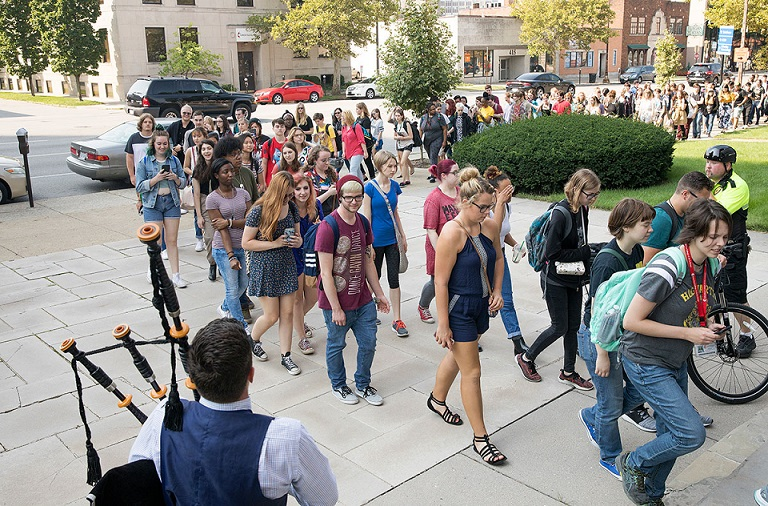 students proceed for convocation