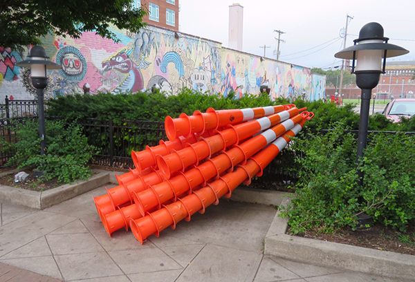 Construction cone art by Carol Boram-Hays