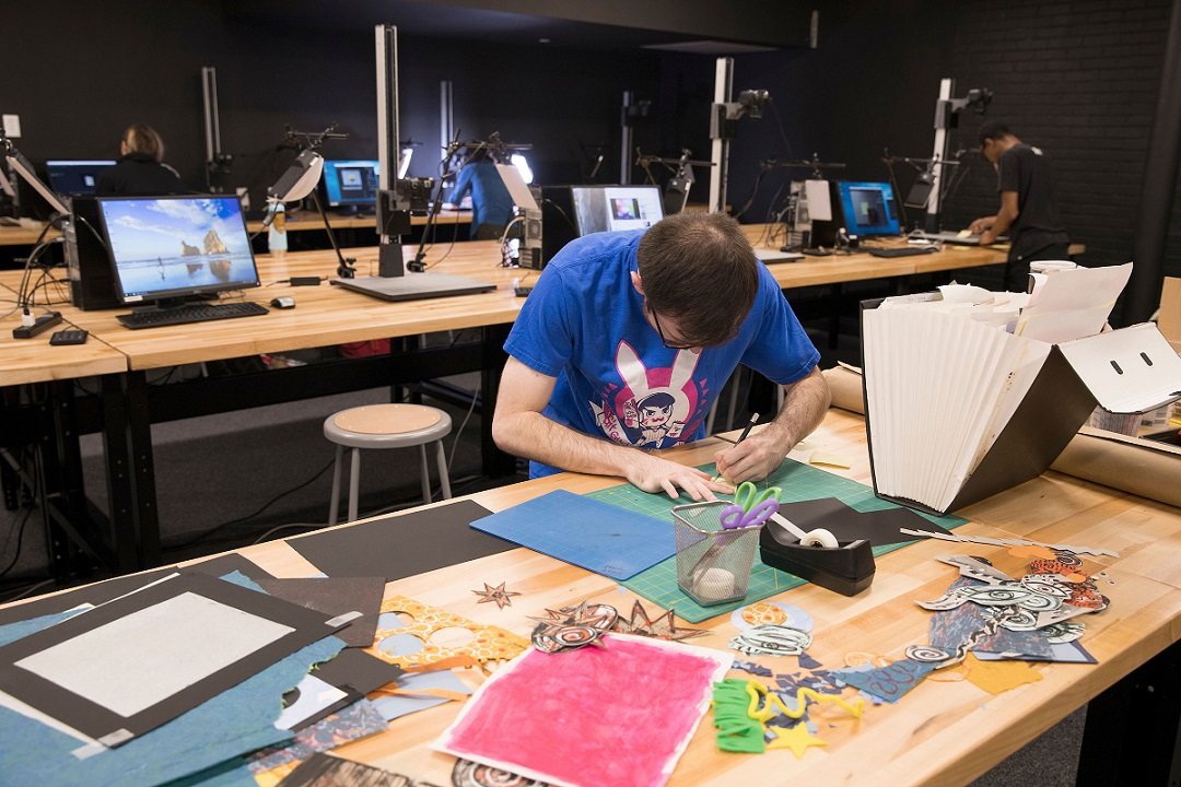 student working in stop motion lab
