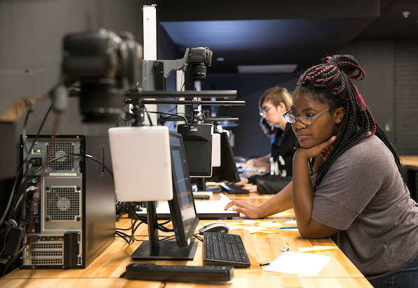 Students work in CCAD's state-of-the-art dedicated stop-motion animation lab