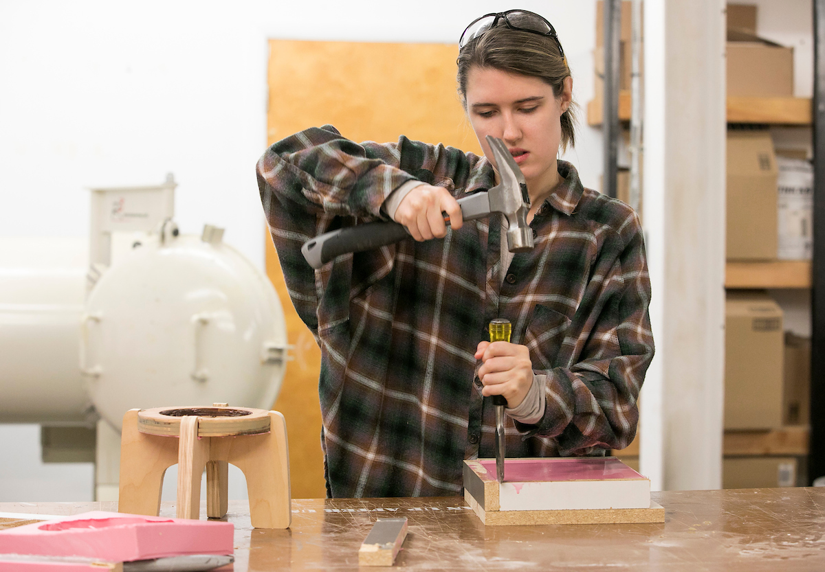 CCAD students work on pieces for the semiannual art fair