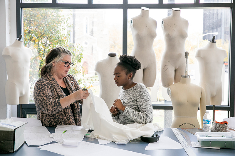 CCAD Fashion Design lab with mannequins