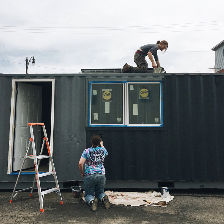 Work in progress: CCAD student Tobias Katz is turning a shipping container into a tiny house for Chroma