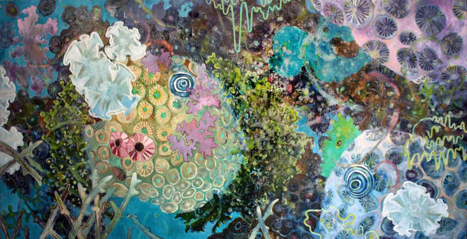Fine Arts, Colorful, intricate painting of underwater life including coral and algae