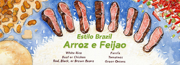 Illustration, Illustration of Estilo Brazil, image of cooked meat, rice, and beans against a blue background with light green descriptive text