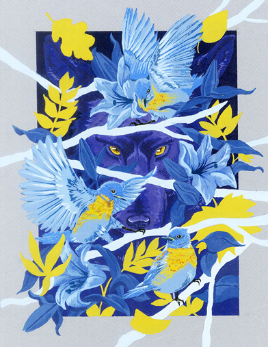 Illustration, blue and yellow Illustrated print of large cat peeking through flowering tree branches and birds