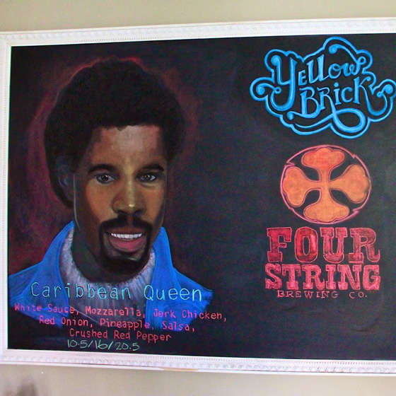 Fine Arts, Chalk Portrait of Billy Ocean in white sweater and blue jacket by Bobby Silver