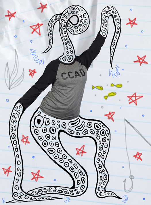 Life at CCAD, CCAD t-shirt available for purchase at Ampersand Emporium, black and gray three quarter sleeve tshirt modeled by illustrated tentacle humanoid with illustrated aquatic background