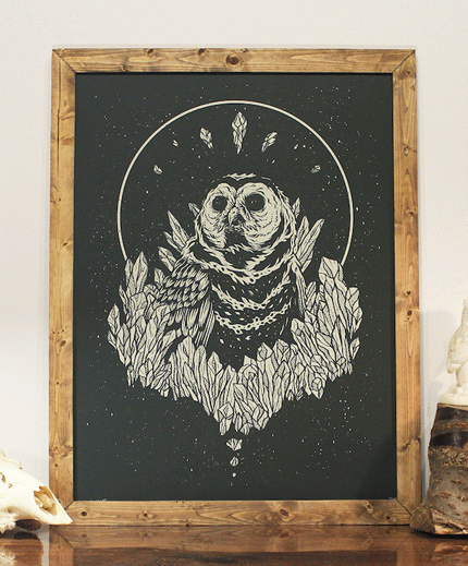 Illustration, sample of work screen printed owl