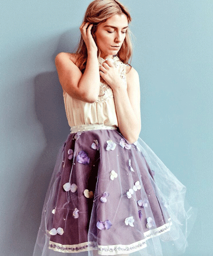 Fashion Design, model in floral skirt