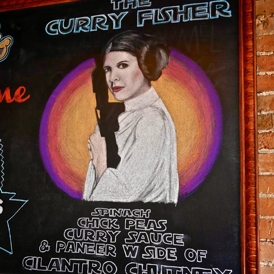 Fine Arts, Chalk Portrait of Carrie Fisher as Princess Laia holding gun for Yellow Brick Pizza