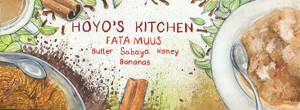 Illustration, Illustration of Hoyo's Kitchen, image of plates of food hanging out of frame with cinnamon sticks and plant buds with red descriptive text