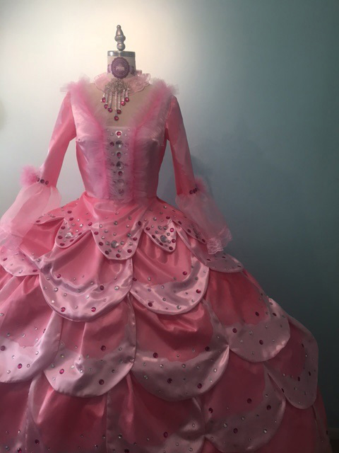 Fashion Design, Recreation of voluminous pink petal gown displayed on mannequinn