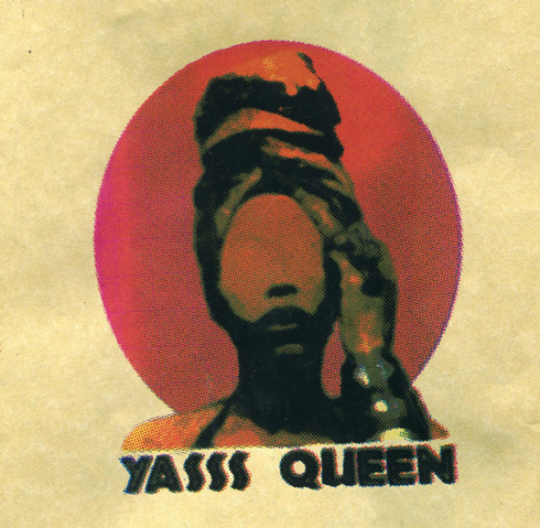 "Photography,Yellow and red print design that reads ""Yass queen"" by CCAD Photography major Jamilla Kato"
