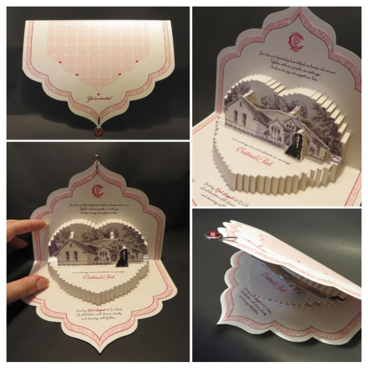 Advertising and Graphic Design, Collage of images of cut paper wedding invitations, cream paper with red and pink accents and raised heart shaped design