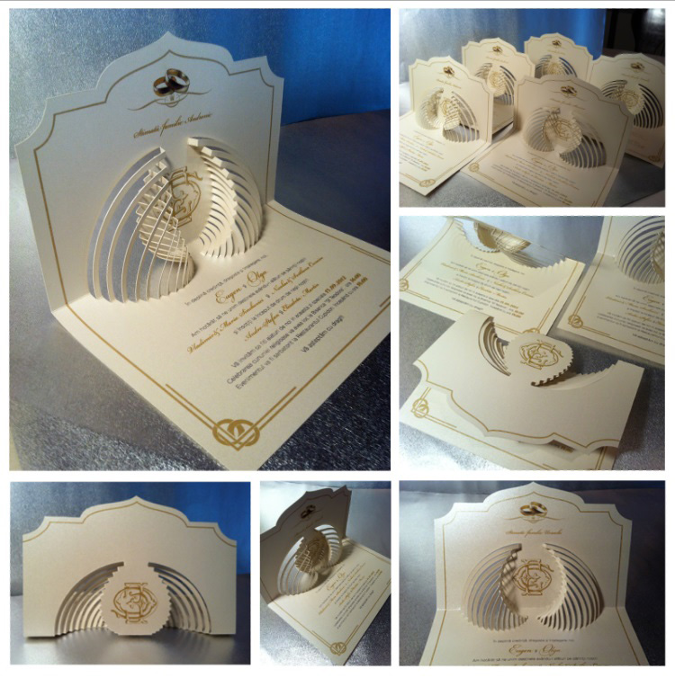 Advertising and Graphic Design, Collage of images of cut paper wedding invitations of cream paper with gold accents