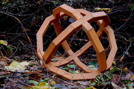 Fine Arts, Wooden geometric sphere constructed from wood lying in bed of grass, twigs, and leaves