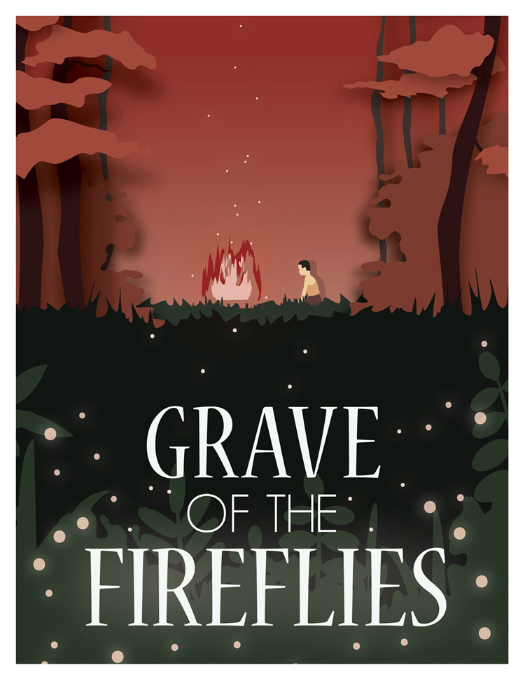 Life at CCAD, Digitally illustrated poster for film Grave of the Fireflies, Work by Sanne Sok (Illustration, 2019)