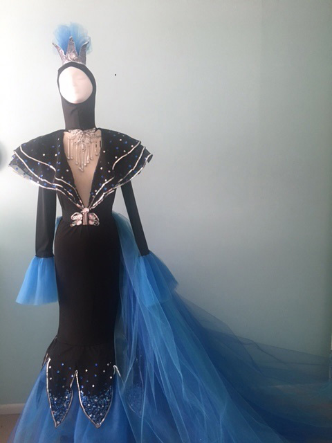 Fashion Design, Recreation of form fitting black and blue dress with shoulder pads and blue train