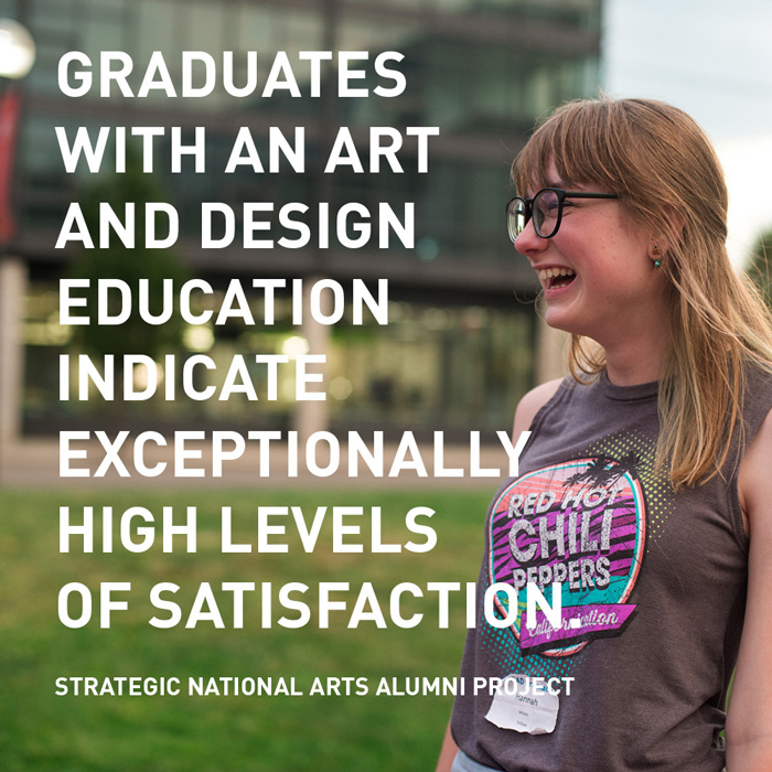 Graduates with an art and design education indicate exceptionally high levels of satisfaction.