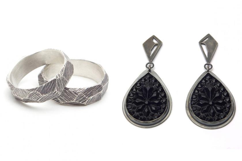 Ring And Black Facet Drop Earrings Fine Arts Anne Holman