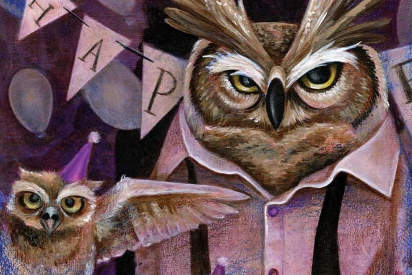 Papa Owl and Owlets Illustration Annalise Barber