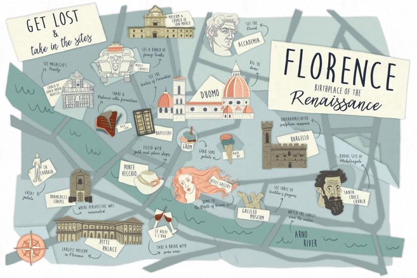 Florence Map Illustration Kelsey Heaton