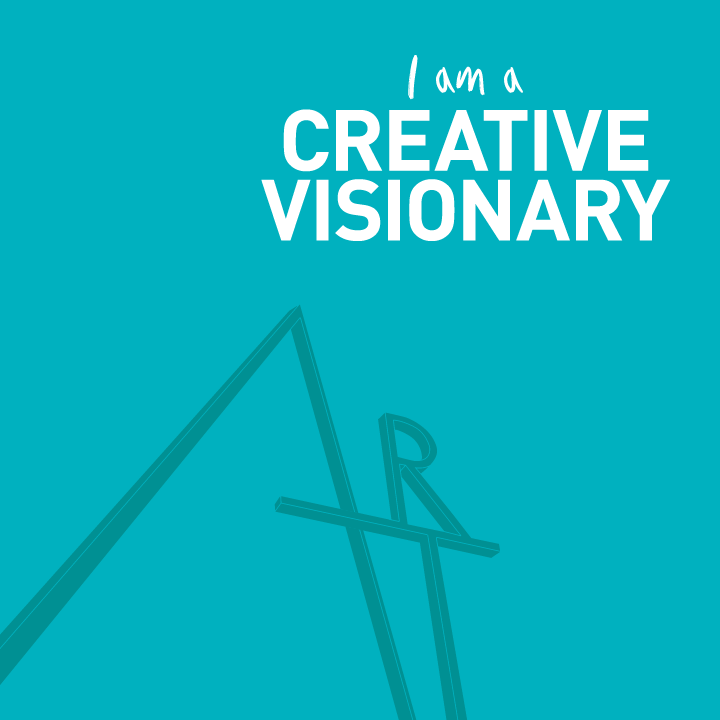 "Words ""I'm a creative visionary"" in a blue background"