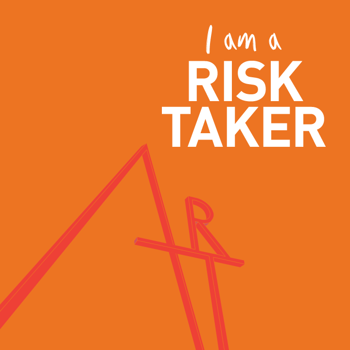 "Words ""I'm a risk taker"" in an orange background"